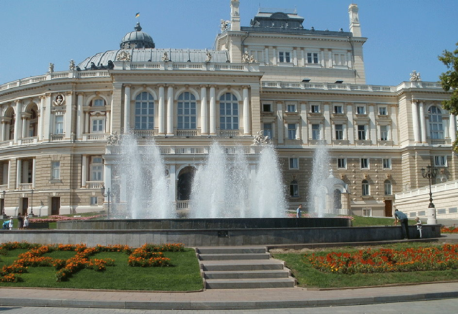 Fountain on theatre square. Odessa opera and ballet theatre